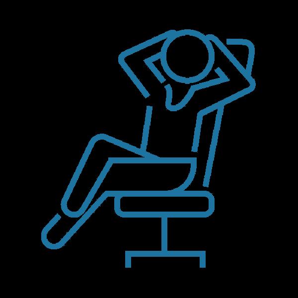 Grafik von entspannter Person auf Stuhl